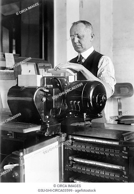 Worker Operating Tabulating Machine, Census Bureau, Department of Commerce, Washington DC, USA, Harris & Ewing, 1919