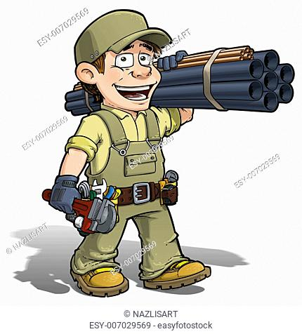 Cartoon illustration of a handyman - plumber carrying pipes and a wrench