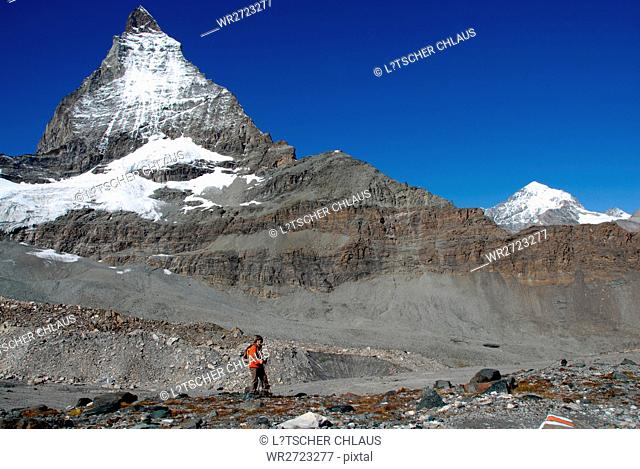 alps, alpine, glacier, trail, Matterhorn, mountains, mountain, dent blanche, Valais, Zermatt, Swiss, Switzerland, hike, hiking, hiker, walk, walking, moraine
