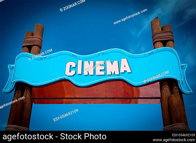 Street Sign the Direction Way to Cinema