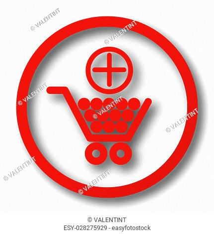 Add to shopping cart icon. Internet button on white background