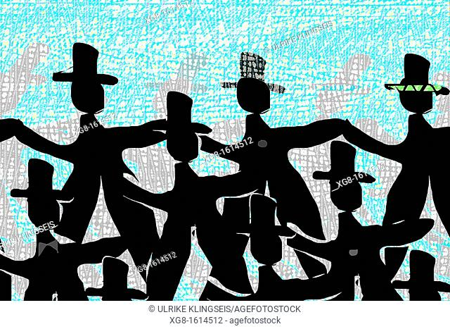 background design, dancing men in black