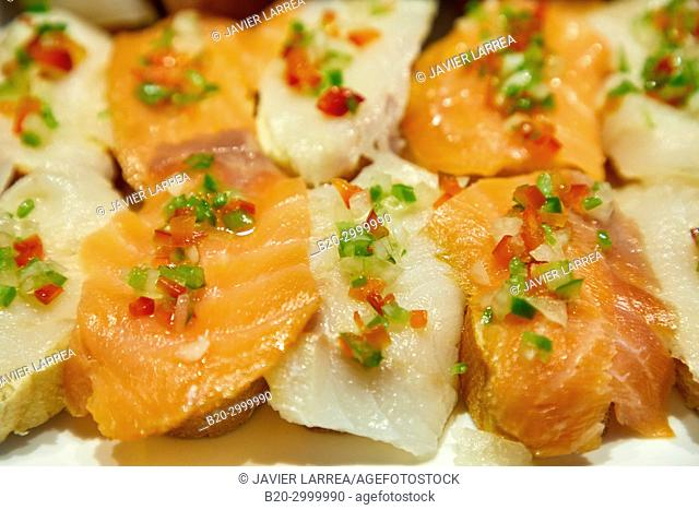 Smoked salmon and smoked cod, Pintxos, Bar Restaurante Portaletas, Parte Vieja, Old Town, Donostia, San Sebastian, Gipuzkoa, Basque Country, Spain