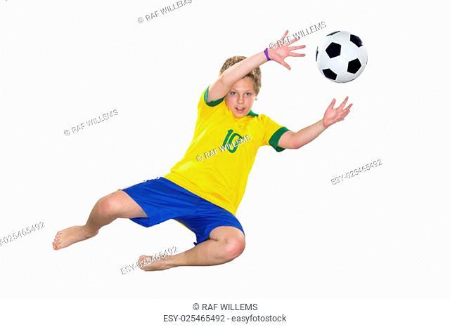 Brazilian Boy, jumping, keeper catches ball