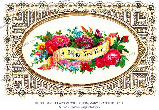 Assorted flowers on a New Year card with ornate gold and white border