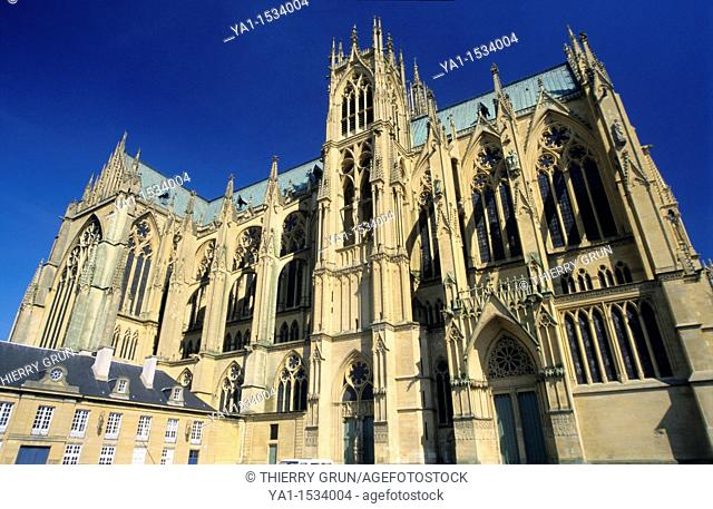 North side of Cathedral St Etienne, Metz, Moselle, Lorraine region, France