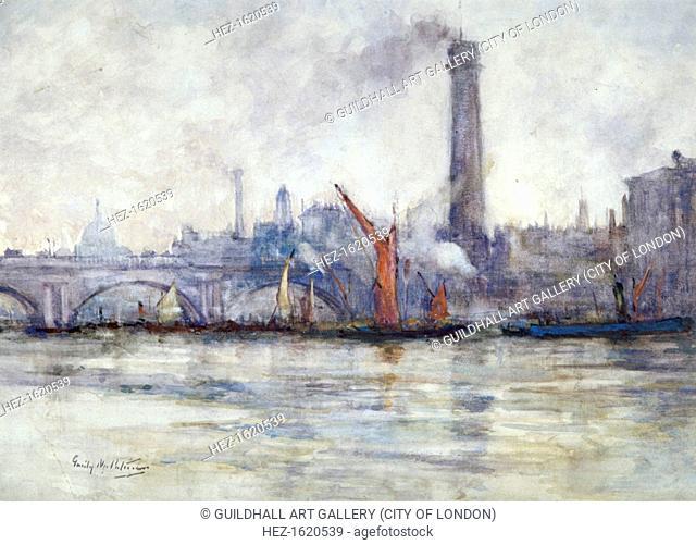 'Waterloo Bridge and St Paul's from the Embankment', c1875-1934