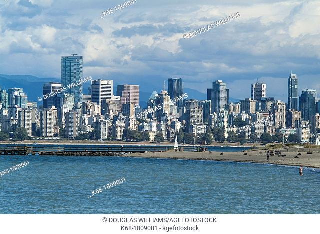 View of downtown Vancouver from Locarno Beach, Vancouver, BC, Canada