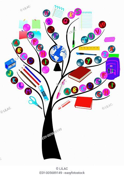 vector tree with school supplies