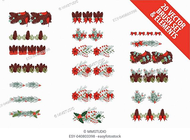 Christmas wreath generator with colorful vector brushes - Hand drawn illustration for greeting cards and web banner