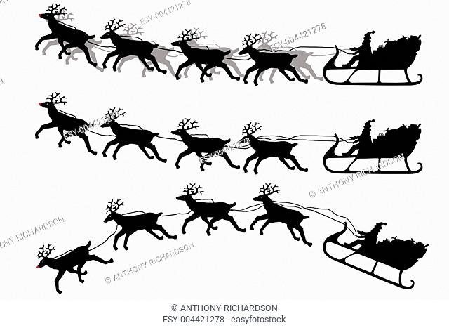 Santa Claus on his sleigh with reindeer