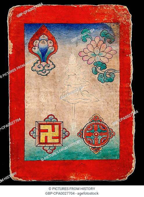 China / Tibet: Bon or Bon Po auspicious card, c. late 19th century