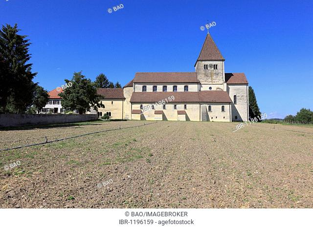 Late Carolingian and Ottonian constructed Basilica of St. George in Oberzell, Reichenau Island, Lake Constance, Konstanz district, Baden-Wuerttemberg, Germany