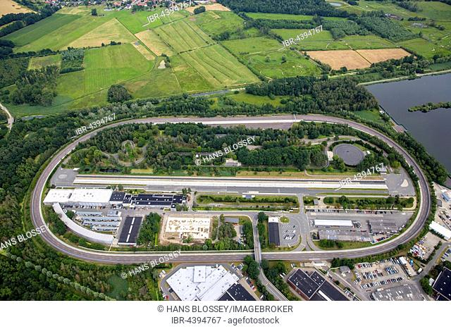 Aerial view, testing grounds on the factory premises, Wohltbergbach, Volkswagen factory in Wolfsburg, Lower Saxony, Germany