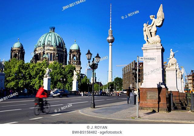 Schlossbruecke, am Schinkelplatz, with Television tower and Dom, Germany, Berlin