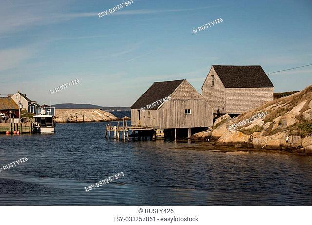The rocky shore of Peggy's Cove Nova Scotia