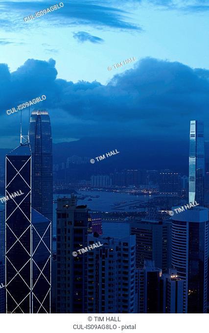 Aerial view of city skyscrapers, Hong Kong, China