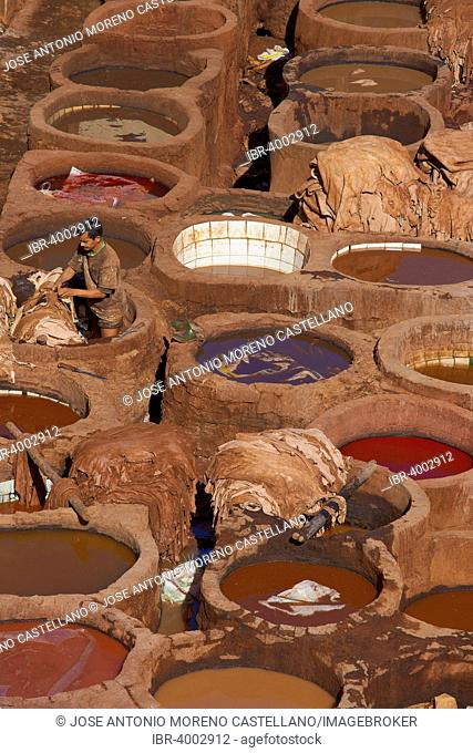 Traditional tannery with dying vats, The Chouwara, Chouara, Old Town, Medina, Fez, Fes, Fez el Bali, Morocco