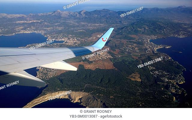 A View From An Airplane Window As It Leaves Mallorca, Spain