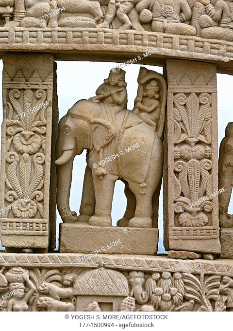 Horses and elephants occupy the space between architraves  Uttari toran dwar, North gate, Stupa one, Sanchi, Madhya pradesh, India