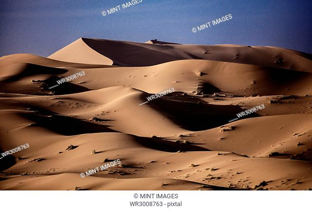 Sand dunes in wave shapes, formed by the action of wind and weather, in the desert