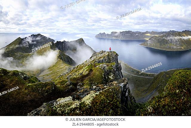 Norway, Troms County, north of the Arctic Circle, Senja island between Tromso and the Lofoten islands, trekker at the summit of Husfjellet (635m)