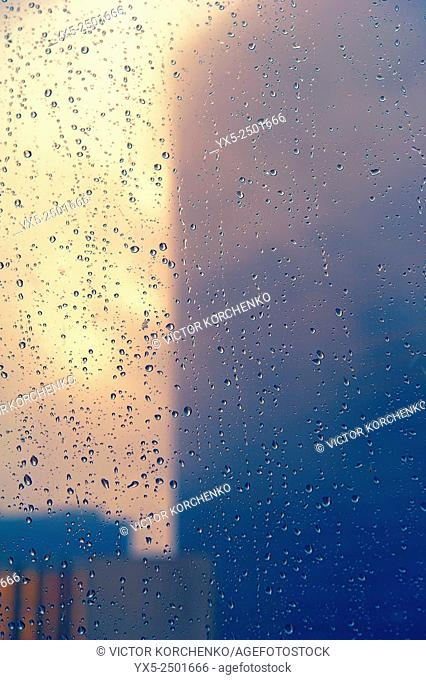 Downtown Toronto view. Rainy weahter. Rain drops on the window