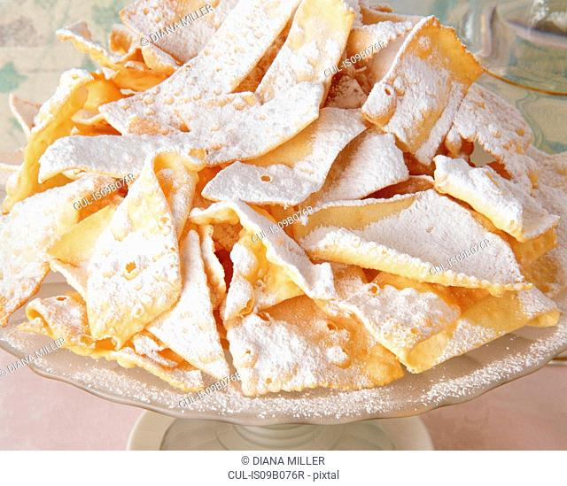Traditional Italian party food, Chiacchiere, sweet crisp pastry