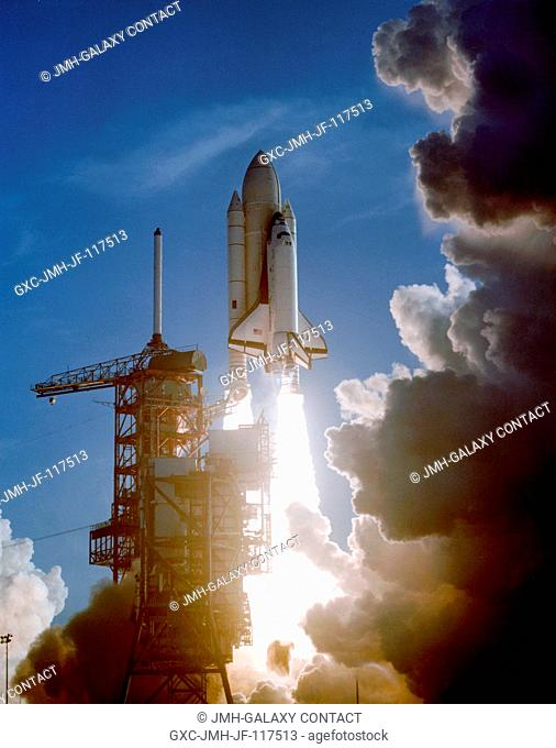 A remote camera at the Kennedy Space Center's Launch Pad 39A captured this scene as the maiden flight of space shuttle Columbia begins