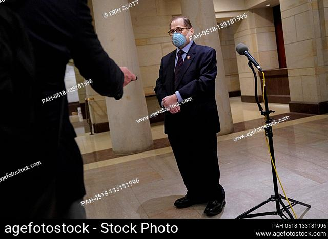 United States Representative Jerrold Nadler (Democrat of New York), Chairman, US House Judiciary Committee, speaks to reporters during a break in a meeting to...