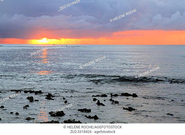 Sunset in the style of Monet, Guadeloupe, Caribbean islands, France