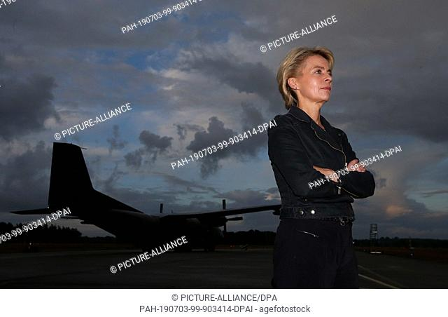 FILED - 15 August 2014, Schleswig-Holstein, Alt Duvenstedt: Federal Defence Minister Ursula von der Leyen (CDU) is standing at the Nato airfield Hohn