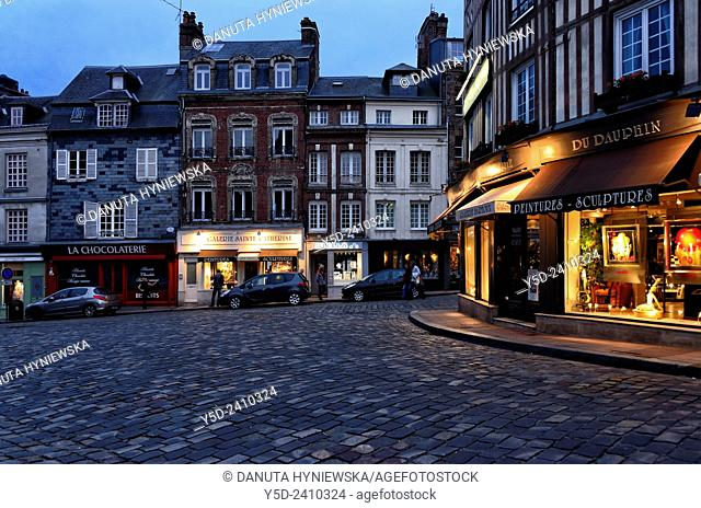 old town of Honfleur by night, Normandy, France