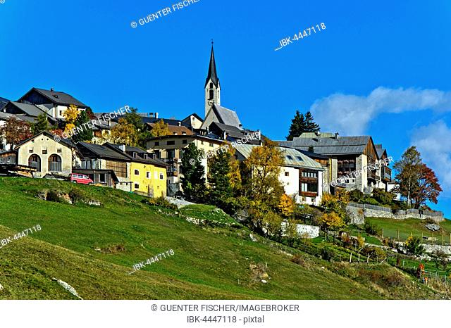 Village of Guarda, Scuol, Engadin, Canton of Grisons, Switzerland