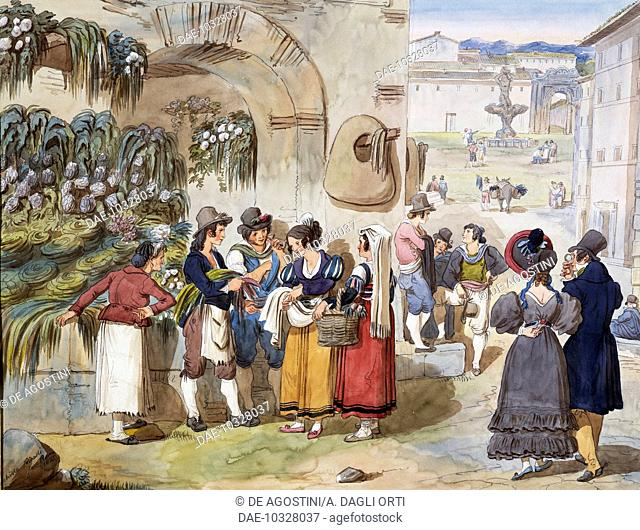 Herb sellers in Piazza Barberini in Rome, 1833, by Achille Pinelli (1809-1841), watercolour drawing. Italy, 19th century