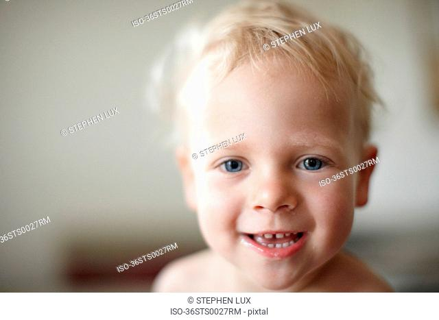 Close up of toddler boy?s smiling face