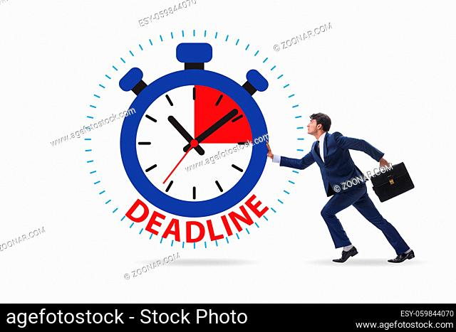 Businessman in the deadline and time management concept