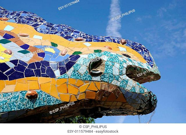 Dragon Sculpture in Antoni Gaudis Parc G�ell, Barcelona Spain