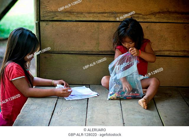 Children Playing, Terra Preta Community, Cuieiras River, Amazônia, Manaus, Amazonas, Brazil