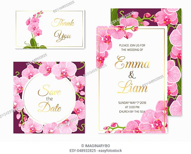 Wedding event invitation save the date RSVP thank you card template set. Pink purple exotic orchid phalaenopsis flowers. Shiny golden text title placeholder
