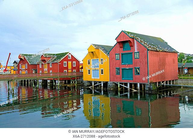 Traditional harbour buildings in fishing village of Rorvik, Norway