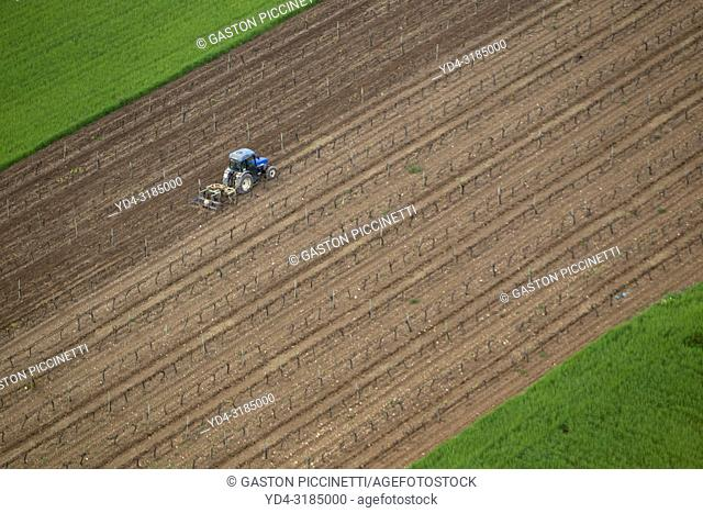 Aerial view of a agricultural tractor working the land, Mallorca, Balearic Island, Spain