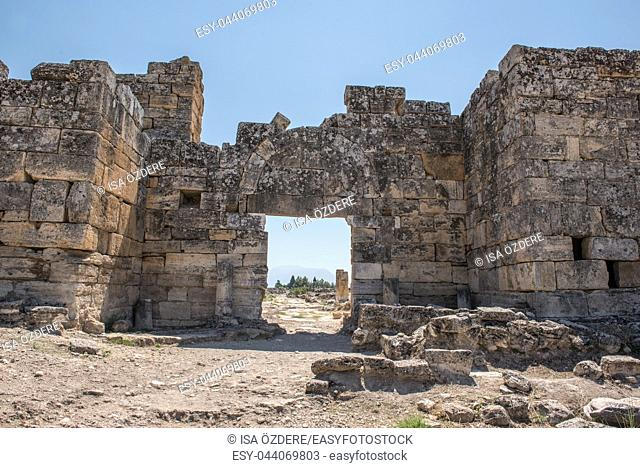 The Byzantine Gate at Hierapolis ancient city in Pamukkale, Turkey