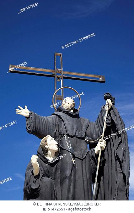 Statue of San Francisco de Paola, Saint Francis of Paola, patron saint of boatmen, mariners and naval officers, Puerto Madryn, Chubut, Patagonia, Argentina