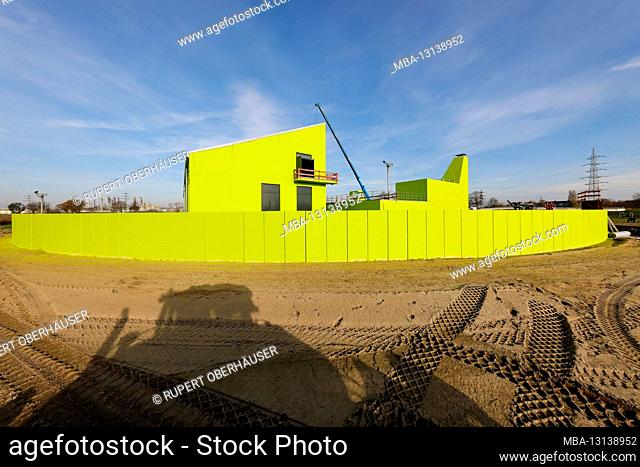 Oberhausen, Ruhr area, North Rhine-Westphalia, Germany - Emscher conversion, new construction of the Emscher AKE sewer, here the new pumping station in...