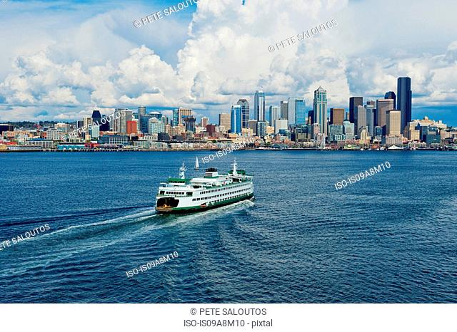 Aerial view of ferry, Seattle, Washington State, USA
