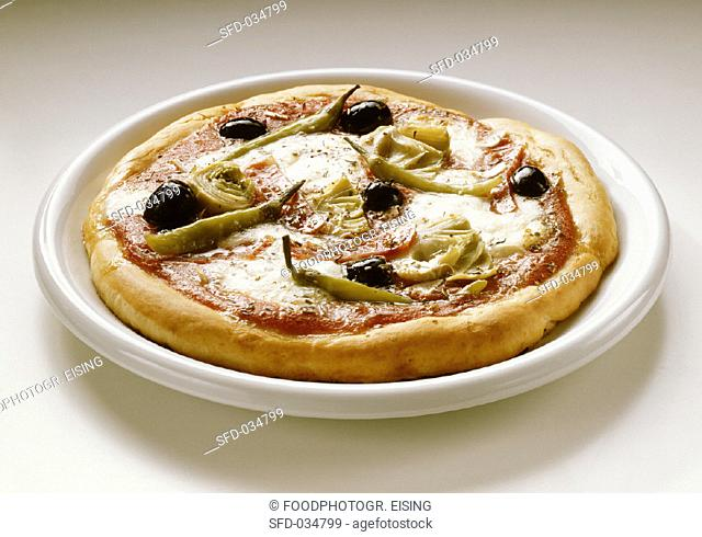 Pizza with Artichokes and Olives