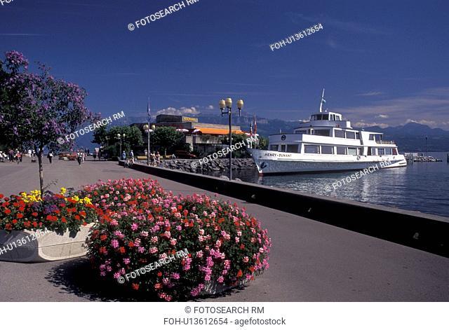 Lausanne, Switzerland, Ouchy, Vaud, Lac Leman, excursion boat, lakefront park, Lake Geneva