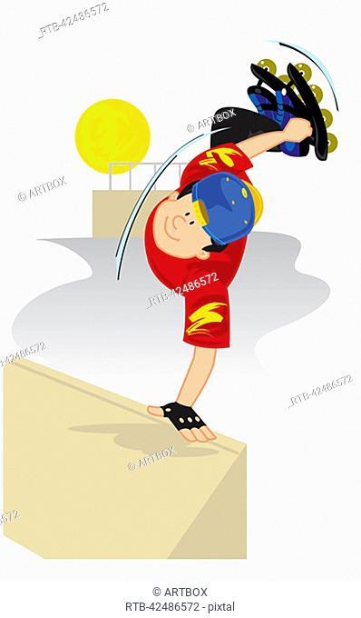 Boy performing stunts on roller skates