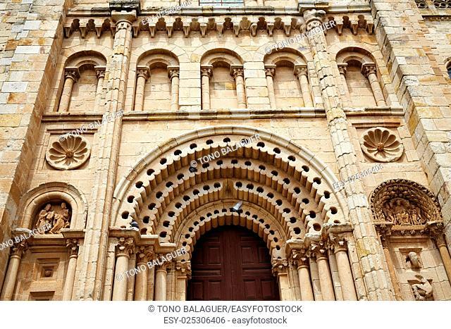 Zamora Cathedral door in Spain by Via de la Plata way to Santiago